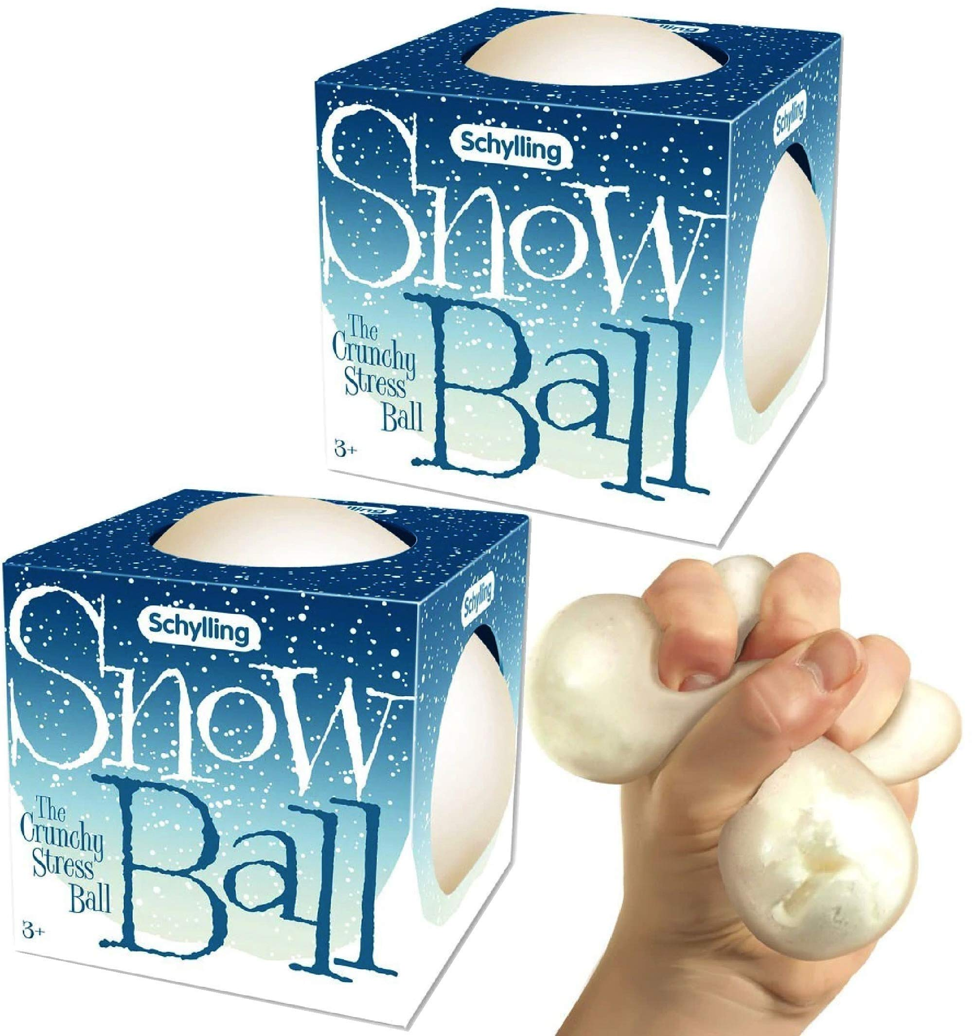 Schylling Snow Ball (NeeDoh) Crunchy, Squishy, Squeezy, Stretchy Stress Balls Gift Set Bundle - 2 Pack