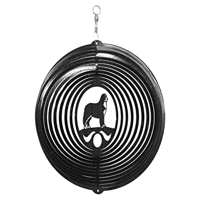 SWEN Products Bernese Mountain Dog Circle Swirly Metal Wind Spinner : Garden & Outdoor