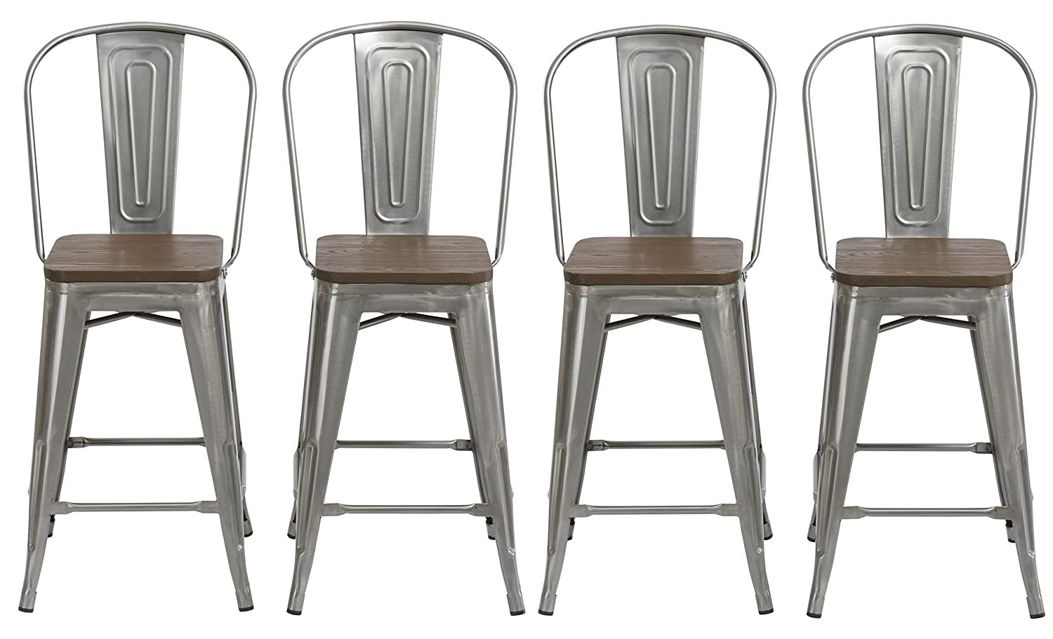 BTEXPERT 24 Industrial Clear Metal Vintage Antique Style Distressed Brush Rustic Dining Counter height Bar Stool Chair High Back Handmade Wood top seat Set of 4 Barstool