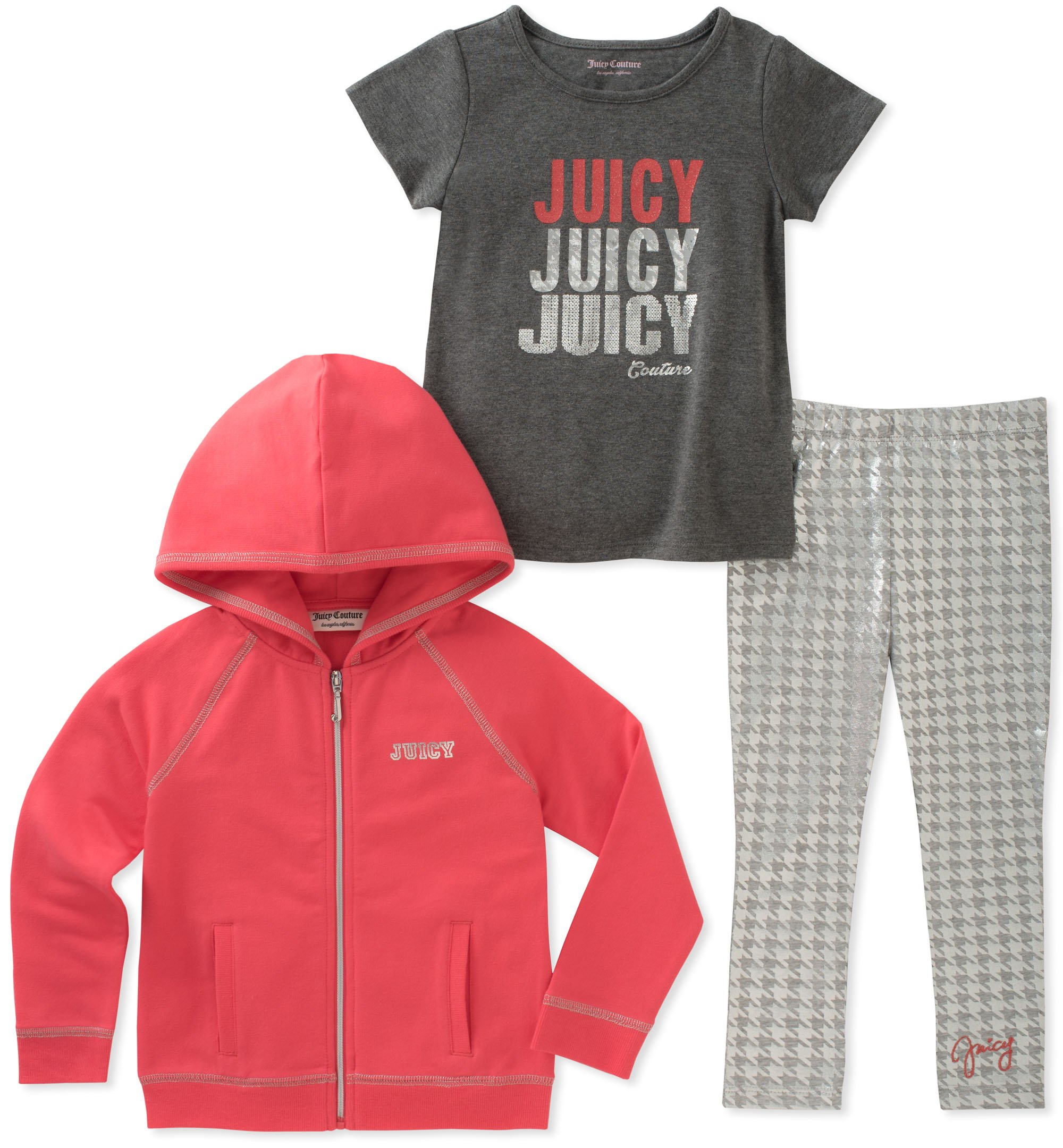 Juicy Couture Girls' Toddler 3 Pieces Jacket Set, Gray/Coral, 4T