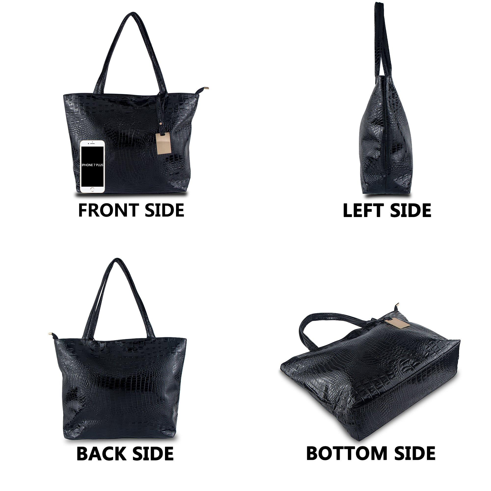 Bagood Womens Crocodile Pattern PU Leather Casual Shopping Handbags High Capacity Shoulder Ladies Soft Bag for Wedding Bridal Prom Party Black by Bagood (Image #3)