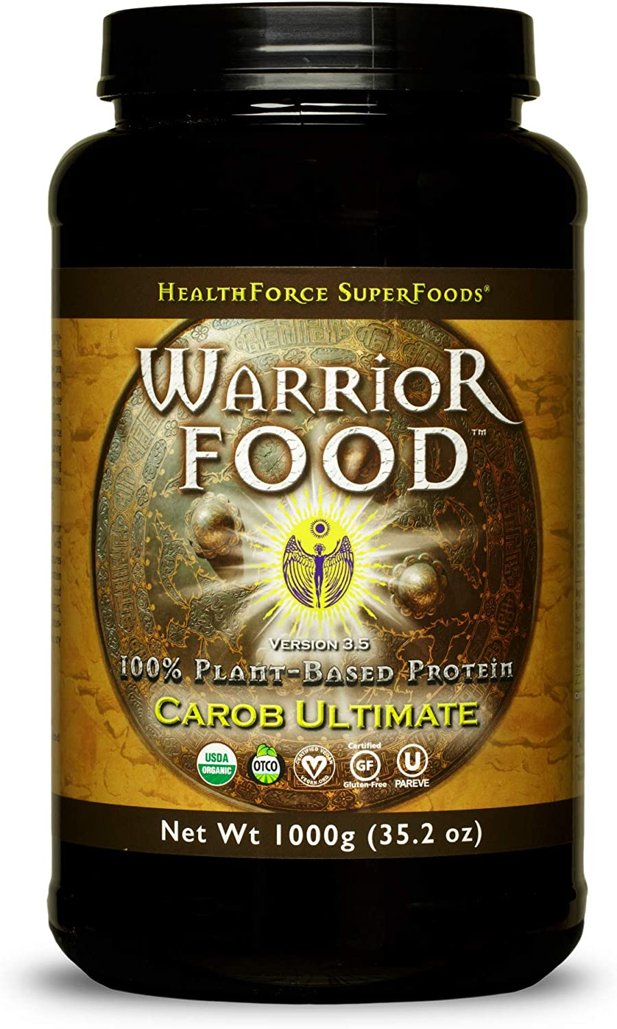 HealthForce SuperFoods Warrior Food, Carob Flavor - 1000 Grams - All-Natural, Plant-Based Protein Powder - Easy to Digest - Organic, Non-GMO, Vegan, Gluten Free - 50 Servings