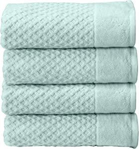 Great Bay Home 100% Cotton Quick-Dry Bath Towel Set (30 x 52 inches) Highly Absorbent, Textured Luxury Bath Towels. Grayson Collection (Set of 4, Pastel Blue)