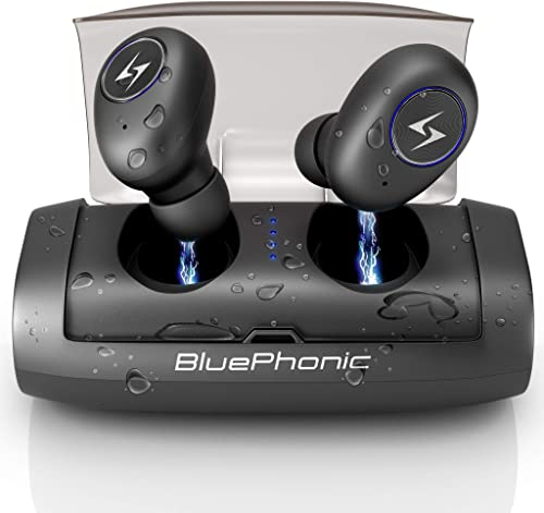 Bluephonic True Wireless Earbuds, Bluetooth 5.0 Wireless Headphones Stereo Immersive Sound with Charging Case, 100H Playtime 2600mAh Auto Pairing SweatProof Sports Headset, Built in Mic, Gym Workout