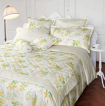 771e357c6d Laura Ashley Wendebettwäsche Spring Blossom Primrose Satin  hellgelb-lindgrün-weiß Größe 135x200 cm (