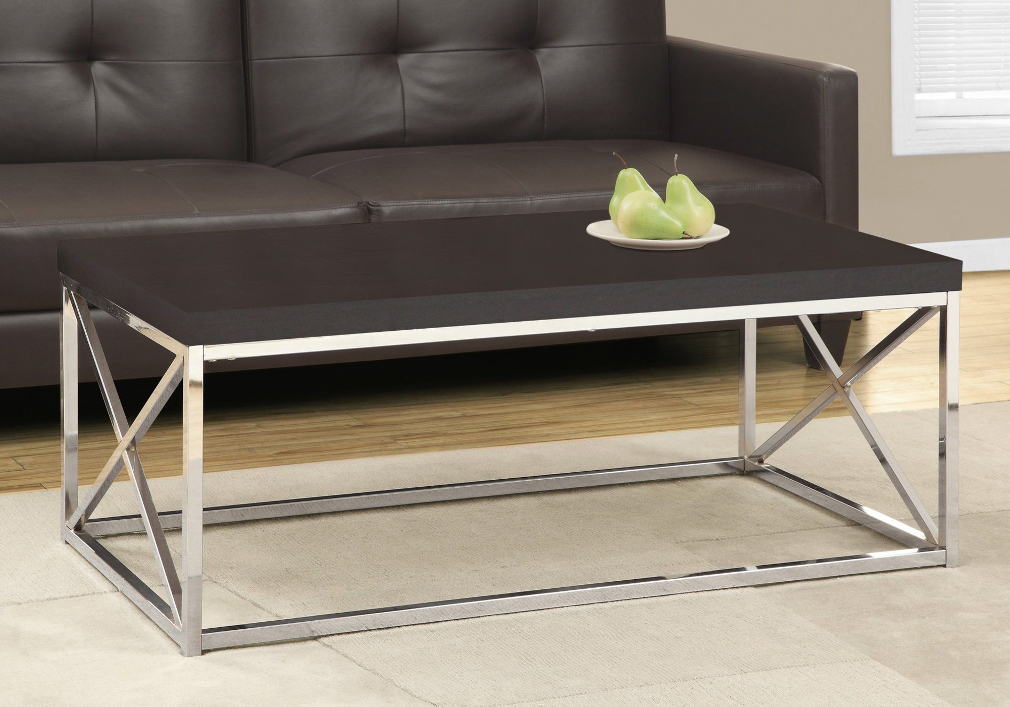 Monarch Specialties Coffee Table - Modern Cocktail Table with Metal Base, 44'' L (Cappuccino Silver) by Monarch Specialties