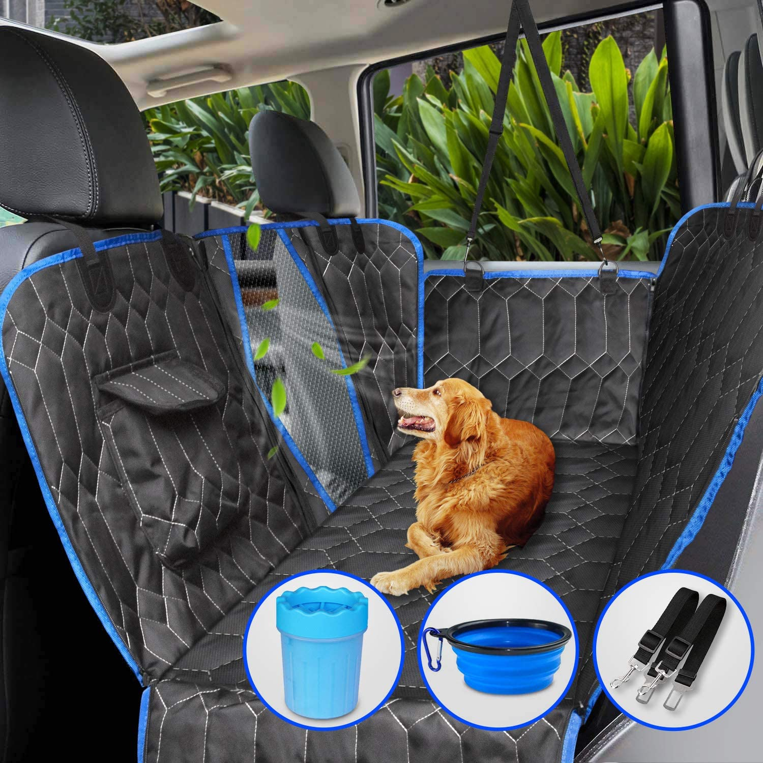 [Upgraded Version] Dog Car Seat Cover for Back Seat, 100% Waterproof Back Seat with Mesh Window, Scratch Proof Nonslip Dog Car Hammock for All Cars, Trucks