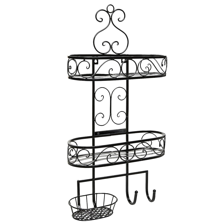 Beautiful 3-Tier Wall Mounted Black Metal Bathroom Organizer / Storage Rack w/ Towel Hooks - MyGift TB-HOM0094BLK