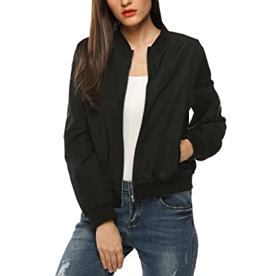 Zeagoo Womens Classic Quilted Jacket Short Bomber Jacket Coat at Women's Coats Shop