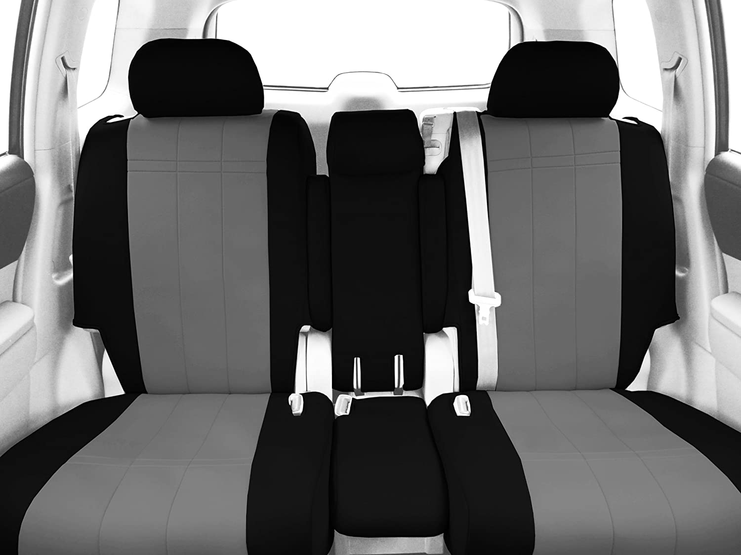Astonishing Caltrend Front Row 40 20 40 Split Bench Custom Fit Seat Cover For Select Ford F 150 Models Neosupreme Light Grey Insert And Black Trim Ibusinesslaw Wood Chair Design Ideas Ibusinesslaworg