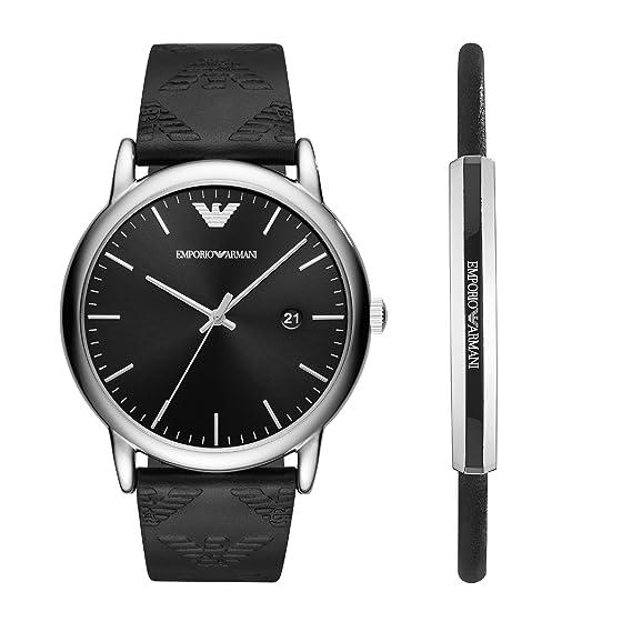 Emporio Armani Reloj Analogico para Hombre de Cuarzo con Correa en Cuero AR80012: Amazon.es: Relojes