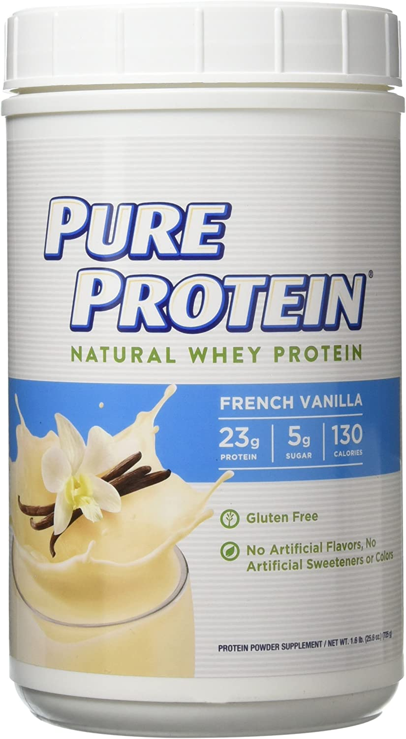 Pure Protein Powder, Natural Whey, High Protein, Low Sugar, Gluten Free, French Vanilla, 1.6 lbs