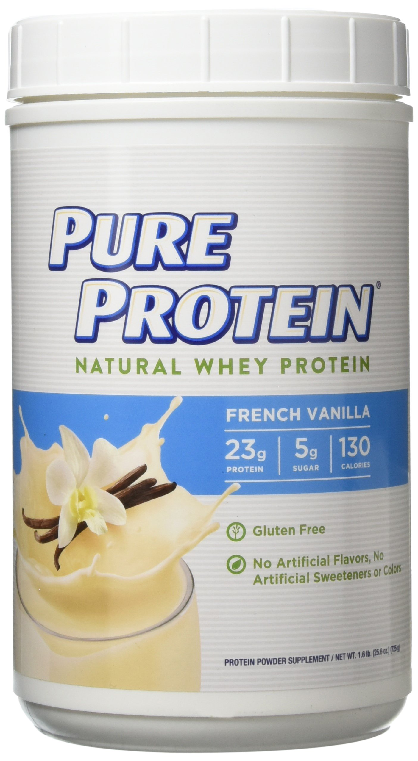 Pure Protein Powder, Natural Whey, High Protein, Low Sugar, Gluten Free, French Vanilla, 1.6 lbs by Pure Protein
