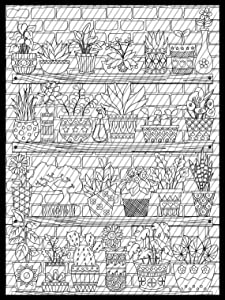 Indoor House Plants Coloring Page, Succulents Coloring sheet, Flower pots Jumbo Coloring book for kids and adults
