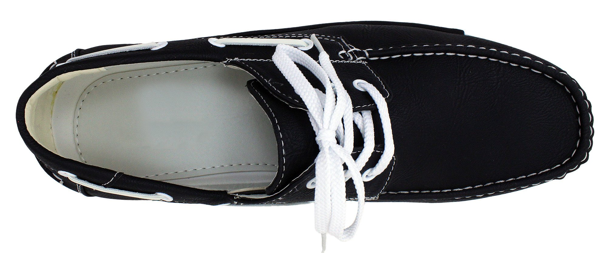 Enimay Men's Free Slip-On Loafer Boat Shoe PU Leather Fine Crafted Lounge Black White 8.5 by Enimay (Image #5)