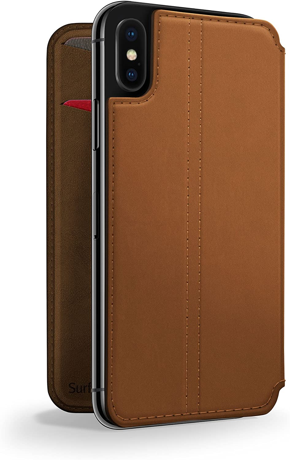 Twelve South SurfacePad for iPhone X / XS | Slim luxury leather folio with wake/sleep functionality (cognac)