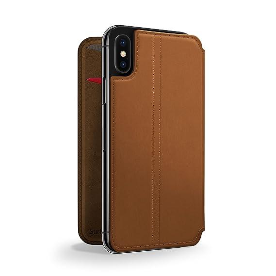 brand new bf59c 1b365 Twelve South SurfacePad for iPhone X | Slim luxury leather folio with  wake/sleep functionality (cognac)