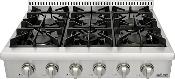 Thorkitchen Pro-Style Gas Rangetop with 6 Sealed Burners  36 - Inch
