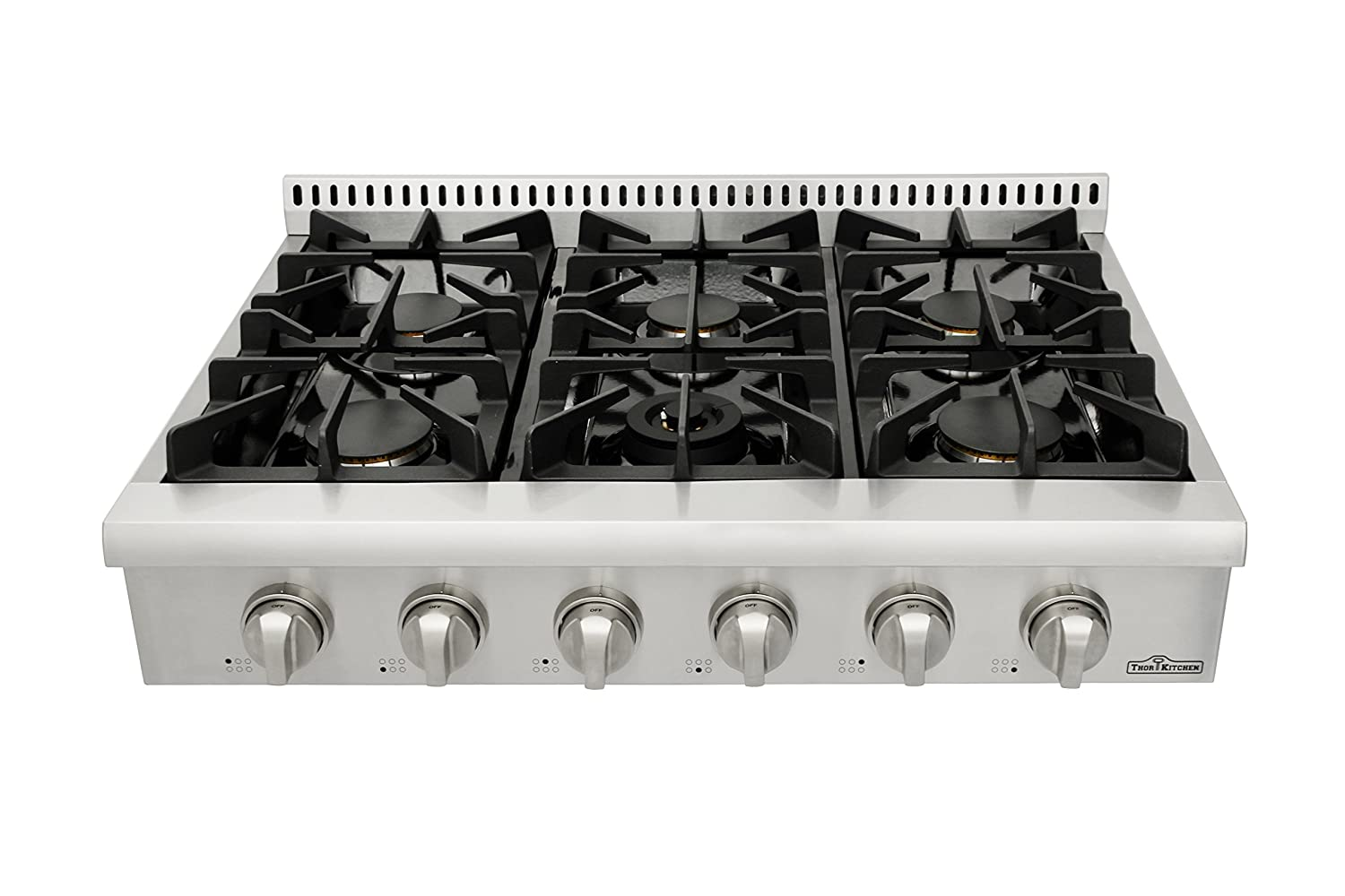 Thorkitchen Pro Style Gas Rangetop with 6 Sealed Burners 36 Inch Stainless Steel HRT3618U