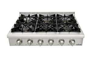 Thorkitchen Pro-Style Gas Rangetop with 6 Sealed Burners36 - Inch, Stainless Steel HRT3618U