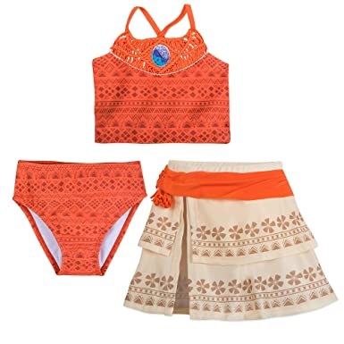 e047fff612a7a Amazon.com: Disney I Am Moana 3-Piece Deluxe Swimsuit for Girls Orange:  Clothing
