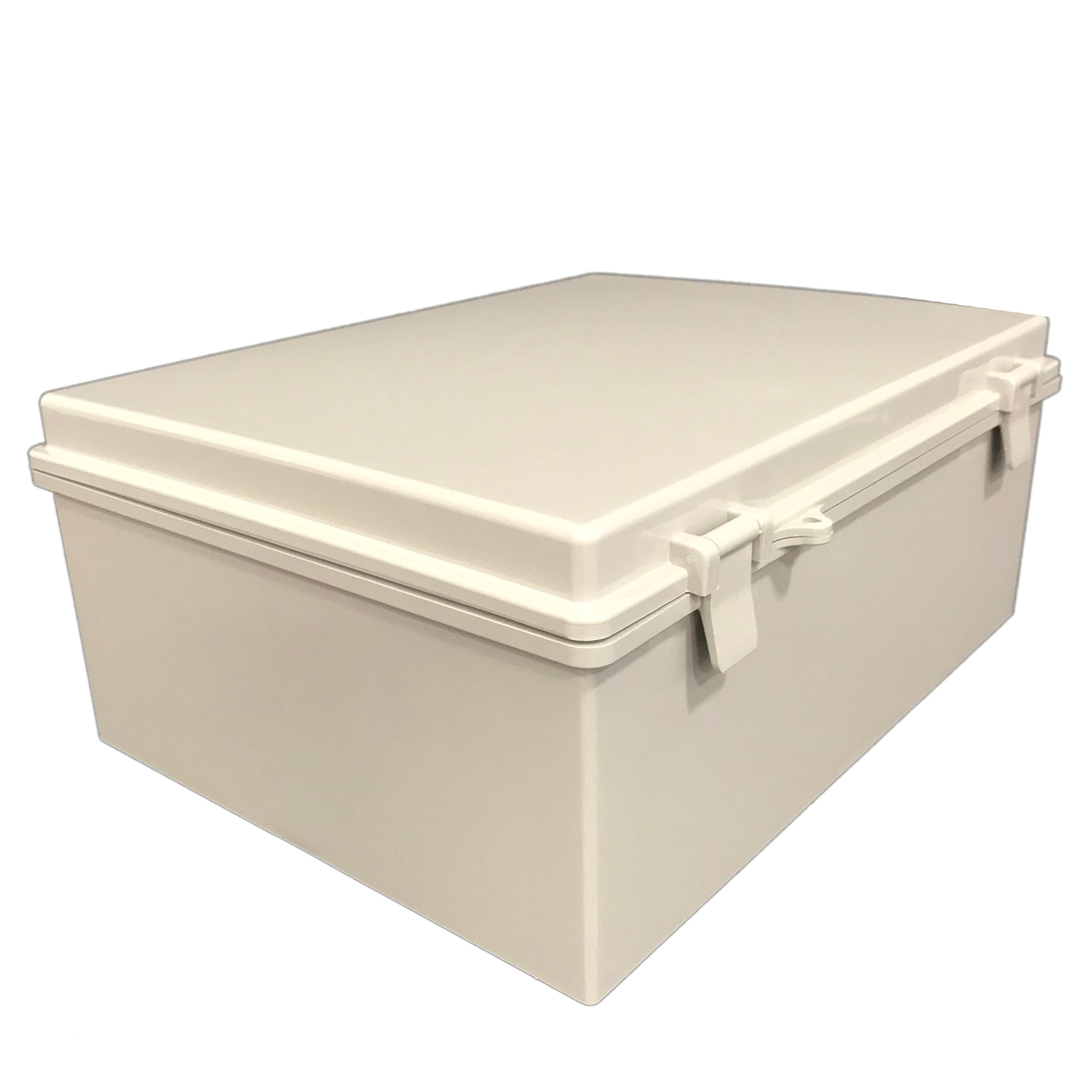 BUD Industries NBB-15247 Style B Plastic Outdoor NEMA Box with Solid Door, 15-43/64'' Length x 11-23/32'' Width x 6-19/64'' Height, Light Gray Finish by BUD Industries