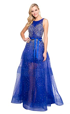Terani Couture Bateau Stone Beaded Bodice Backless Long Ball Gown At