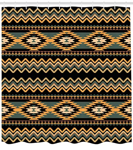 Lunarable Aztec Shower Curtain Geometrical Indigenous Borders Waves Chevron Old Fashioned Native Art Fabric