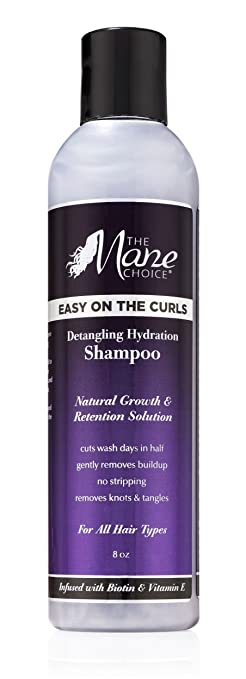 THE MANE CHOICE Easy On The Curls Detangling & Hydration Shampoo ( 8 Ounces / 230 Milliliters ) - Biotin, Avocado Oil and Vitamin E to Clean, Nourish & Hydrate Your Curly Hair