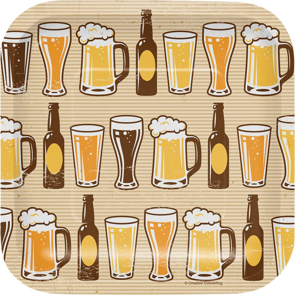 Creative Converting 322281 96 Count Dessert/Small Square Paper Plates, Cheers and Beers by Creative Converting