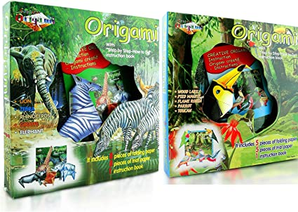 2 Pack - Origami Paper Kit Birds & Jungle Animals, 26 Pieces of Origami Paper, Create 10 Different Animals, Instruction Book Included for Teenager, Adult and Intermediate and Advanced - Origami Kit