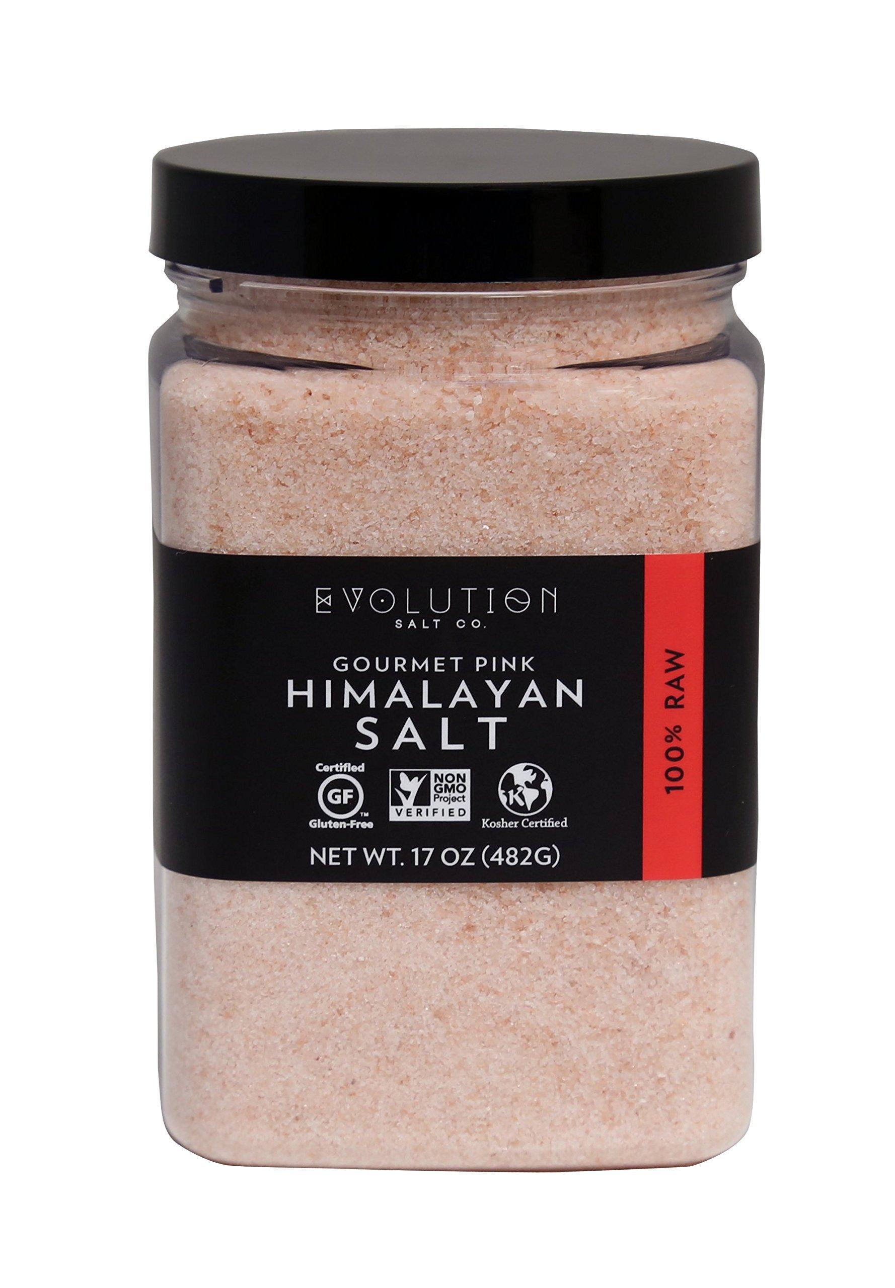 Evoltion Salt Co Gourmet Pink Himalayan Salt, Fine Grind, 17 Ounce (Pack of 6)