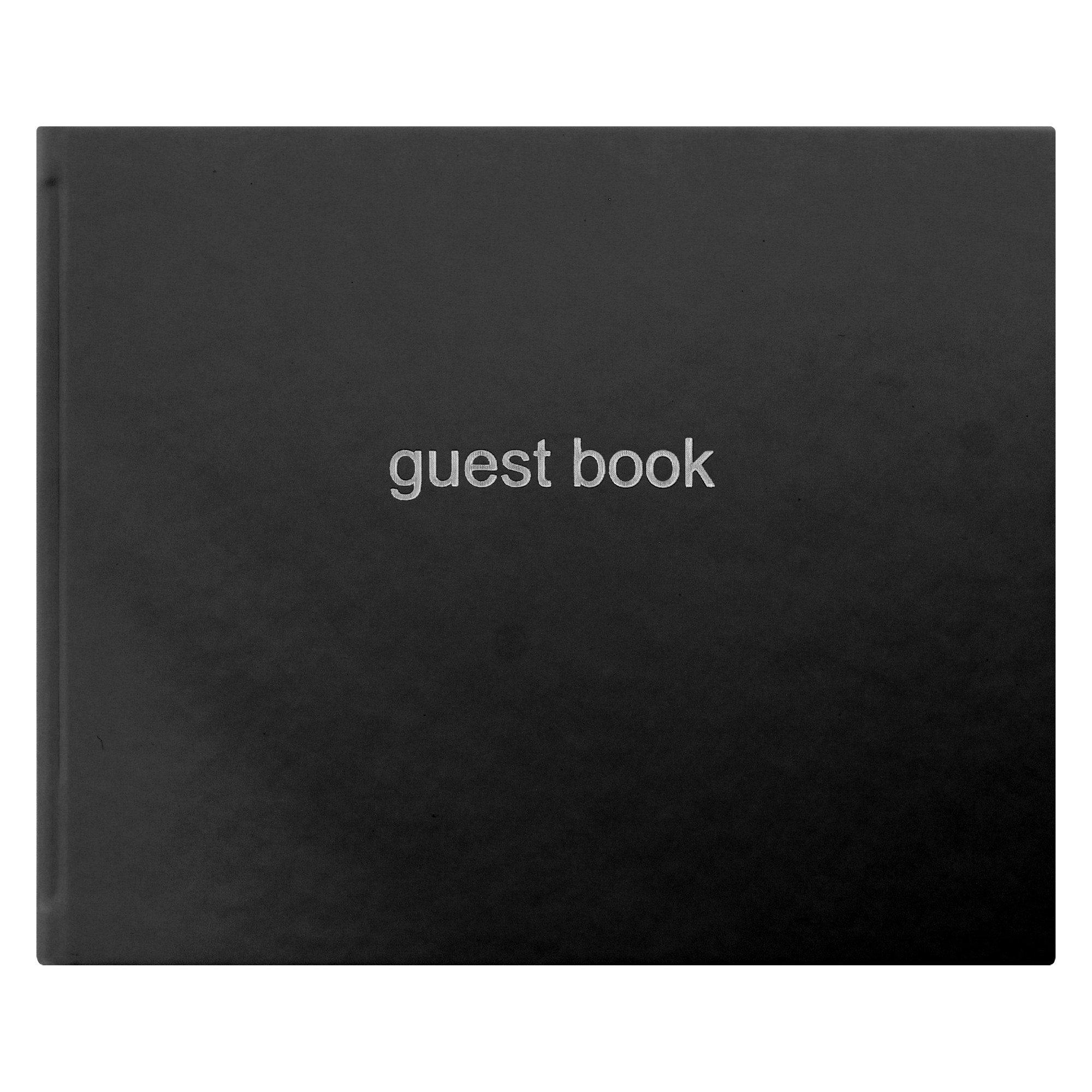 New Letts Dazzle Quarto Visitor Book Landscape (Black)