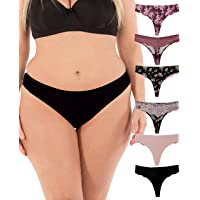 ba5ed9d61b1e Thongs for Women Sexy Lace Back Floral Panties Invisible No-Show Seamless  Underwear 6 Pack