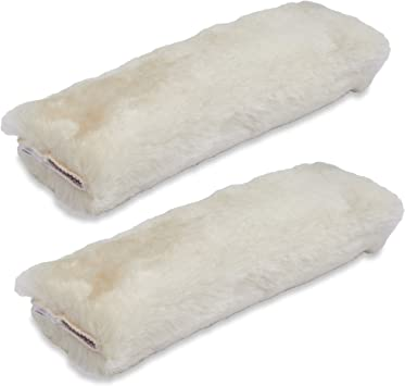 Black Authentic Sheepskin Merino Wool ANDALUS Seat Belt Covers for Adults and Kids