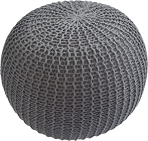 Urban Shop Round Knit Pouf - Hand Woven Cotton, Grey
