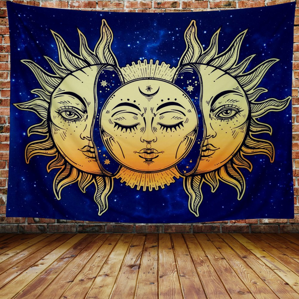 Amonercvita Psychedelic Tapestry Moon and Sun Tapestry Wall Hanging India Hippie Hippy Bohemian Tapestries Starry Sky Wall Tapestry Fractal Faces Mystic Tapestry for Bedroom Living Room Dorm by Amonercvita (Image #3)