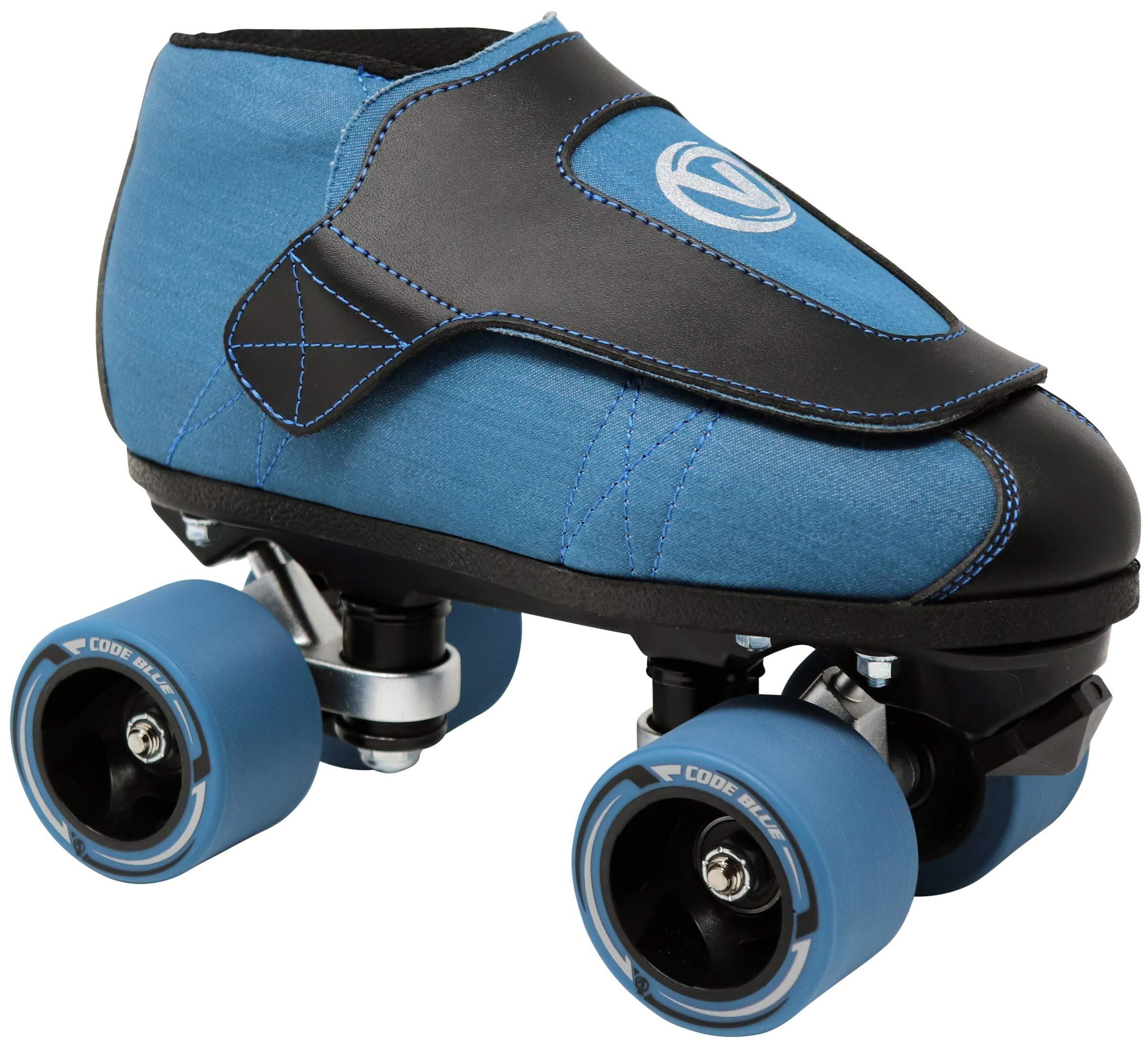 VNLA Code Blue Jam Skate - Mens & Womens Speed Skates - Quad Skates for Women & Men - Adjustable Roller Skate/Rollerskates - Outdoor & Indoor Adult Quad Skate - Kid/Kids Roller Skates (Size 4) by VNLA (Image #1)
