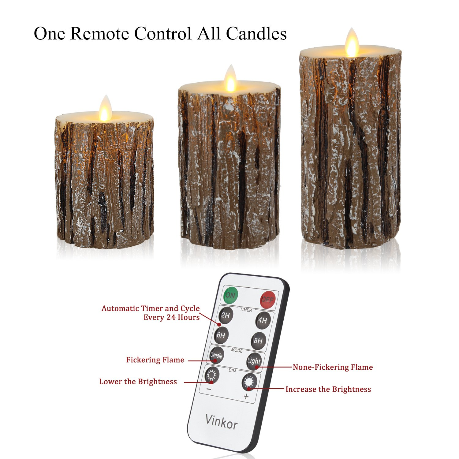 Vinkor Flameless Candles Flickering Candles Decorative Battery Flameless Candle Classic Real Wax Pillar With Dancing LED Flame & 10-key Remote Control 2/4/6/ 8 Hours Timers (Birch Effect) by Vinkor (Image #6)