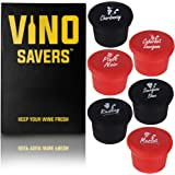 Wine Stoppers (Set of 6 corks) - Perfect Gift Box for Real Wine Lovers. Keep Leftover Wine Fresh with Reusable Silicone Bottle Caps Accessory Named for your Favorite Wines