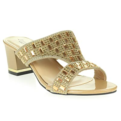 aeeaf075c345b AARZ Femmes Mesdames Soirée Confort Slip-On Sandal Diamante Wedding Party  Moyen Bloquer Chaussures à