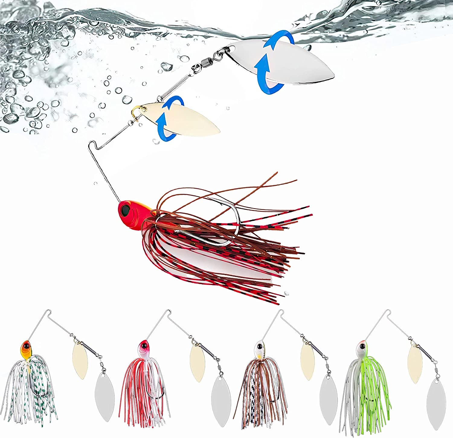 Ali York Fishing Lures for Bass, 5 Pcs Spinner Baits for Bass Fishing, Trout Lures Freshwater Kits, Rooster Tail Fishing Lures, Fishing Bait for Freshwater & Saltwater, Bass Lures : Sports & Outdoors