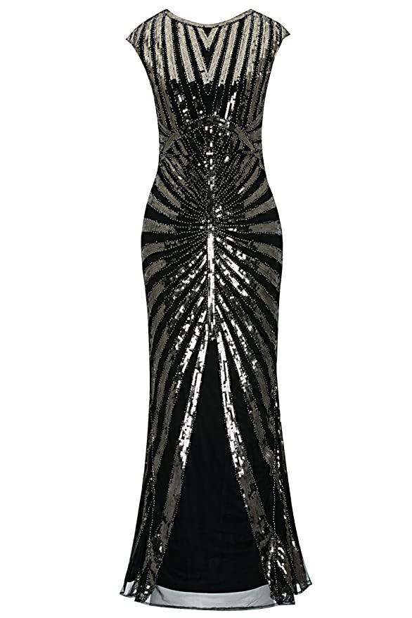 1920s Downton Abbey Dresses Metme Womens 1920s Prom Fringed Sequin Long Flapper Roaring Gatsby Dress for Party £46.99 AT vintagedancer.com
