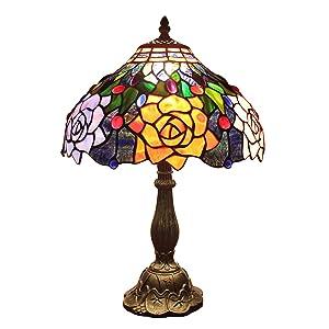 Gweat Tiffany 12-Pouce Européenne Pastorale Style Main Vitrail Élégant Rose Lampe De Table Lampe De Chevet