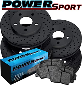 For 2010 Ford Taurus Front Rear eLine Black Drill Slot Brake Rotors+Ceramic Pads