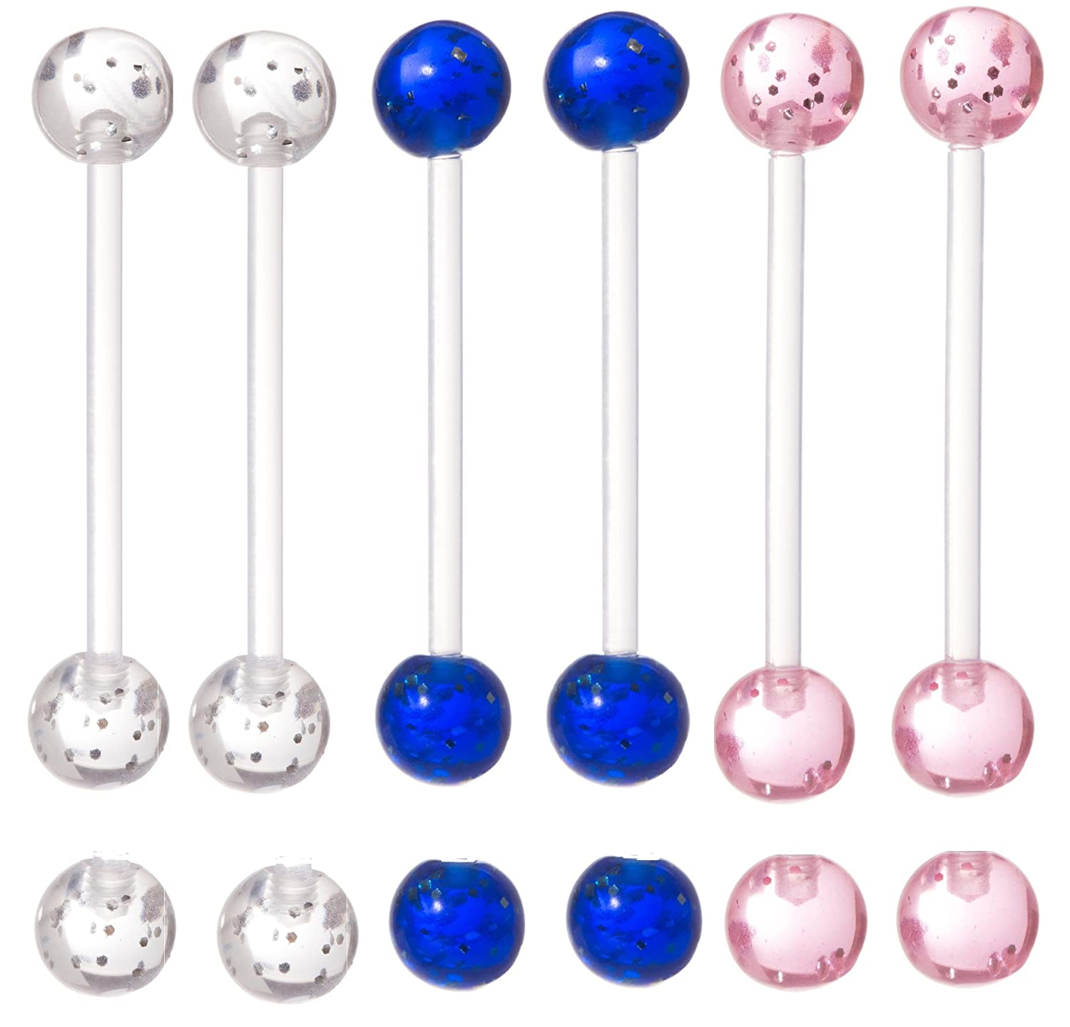Set of 6 - Glitter Pregnancy Maternity Flexible Belly Button Ring Threaded Retainer - Nickel / Allergy Free - 14G - Clear, Pink, and Blue