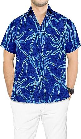 LA LEELA algodón para Hombre botón de Camisa Hawaiana de ...