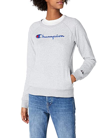 7f3c0f28 Image Unavailable. Image not available for. Colour: Champion Women's Crewneck  Sweatshirt-Institutionals, Grey (Oxgm), X-Large