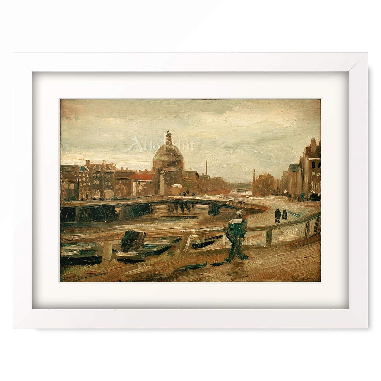 フィンセントファンゴッホ Vincent Willem van Gogh 「De Singel in Amsterdam」 額装アート作品 B07PD2FRH2 04.木製額 22mm(パールホワイト) XL(額内寸 727mm×545mm) XL(額内寸 727mm×545mm)|04.木製額 22mm(パールホワイト)