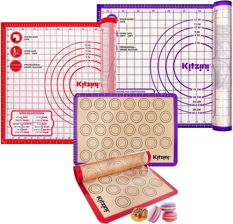 rojo esterilla de silicona XL para fondant pizza Alfombrilla antideslizante extragruesa para hornear de silicona con cortador de masa tama/ño grande 71 x 51 cm sin BPA